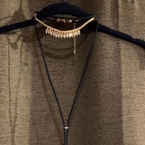 Lydell NYC Crystal Choker/Drop w/ suede ties